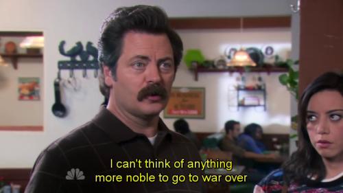 ron swanson on war