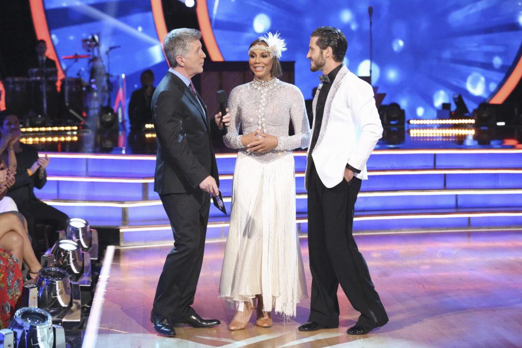 "DANCING WITH THE STARS - ""Episode 2101"" -- ""Dancing with the Stars"" is back with an all-new celebrity cast ready to hit the ballroom floor. The competition begins with the two-hour season premiere, LIVE, MONDAY, SEPTEMBER 14 (8:00-10:01 p.m., ET) on the ABC Television Network.  (ABC/Adam Taylor) TOM BERGERON, TAMAR BRAXTON, VALENTIN CHMERKOVSKIY"