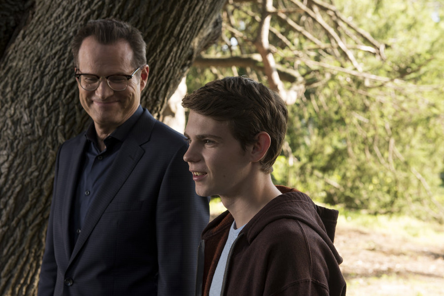 "HEROES REBORN -- ""June 13th - Part Two"" Episode 108 -- Pictured: (l-r) Jack Coleman as HRG, Robbie Kay as Tommy -- (Photo by: Christos Kalohoridis/NBC)"