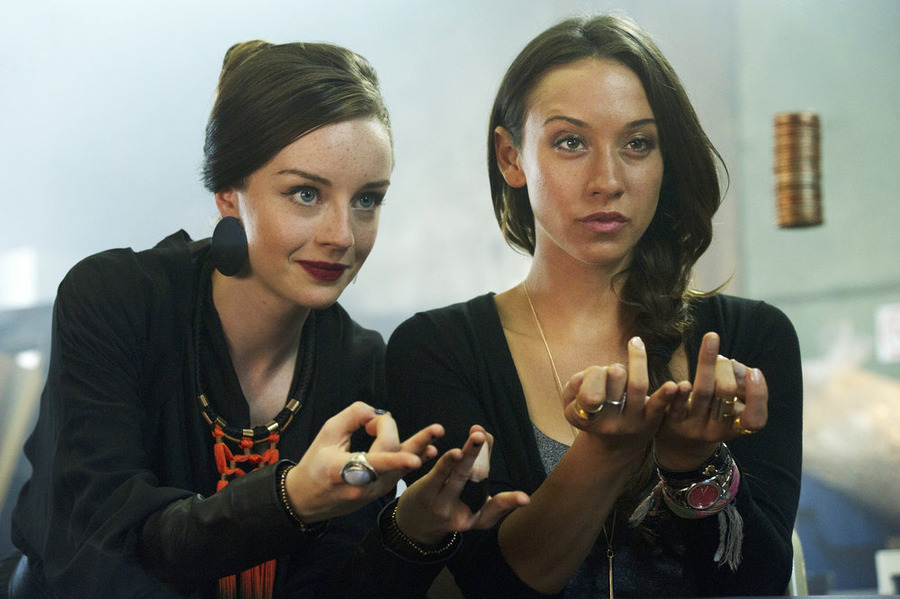 "THE MAGICIANS -- ""Consequences of Advanced Spellcasting"" Episode 103 -- Pictured: (l-r) Kacey Rohl as Marina, Stella Maeve as Julia -- (Photo by: Carole Segal/Syfy)"