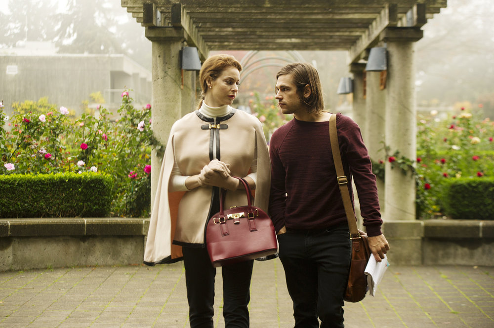 "THE MAGICIANS -- ""The Strangled Heart"" Episode 108 -- Pictured: (l-r) Anne Dudek as Professor Pearl Sunderland, Jason Ralph as Quentin -- (Photo by: Carole Segal/Syfy)"