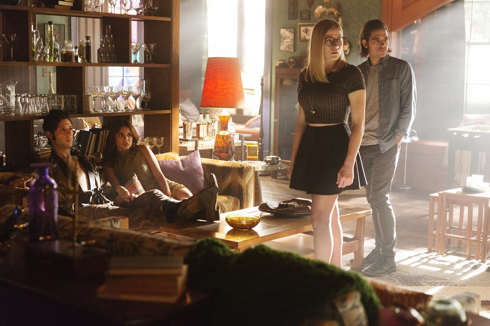 "THE MAGICIANS -- ""Homecoming"" Episode 110 -- Pictured: (l-r) Hale Appleman as Eliot, Summer Bishil as Margo, Olivia Taylor Dudley as Alice, Jason Ralph as Quentin -- (Photo by: Jeff Weddell/Syfy)"