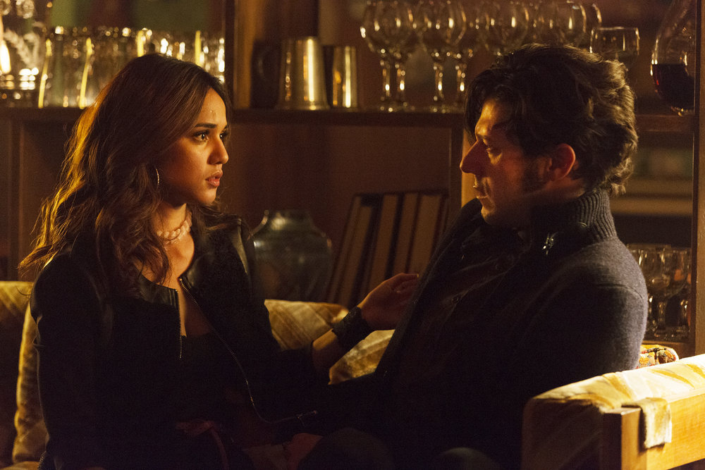 "THE MAGICIANS -- ""Homecoming"" Episode 110 -- Pictured: (l-r) Summer Bishil as Margo, Hale Appleman as Eliot -- (Photo by: Jeff Weddell/Syfy)"