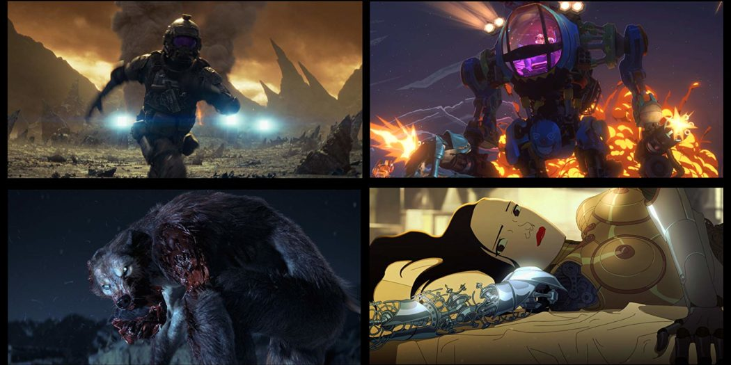A space ranger flees, a pilot in a mech fires guns from its arms, a werewolf devours flesh, a female android is disassembled.