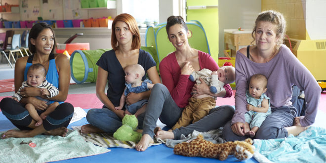 Jenny, Anne, Kate, and Frankie attend maternity class with their babies.