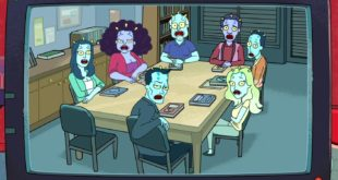 The cast of community season one as aliens with three pronged antennae and teal skin