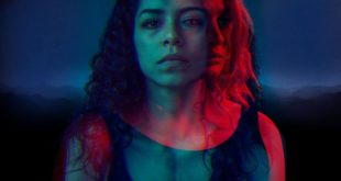 Sasha in blue hues of lighting, with Becky highlighted inside of her in red