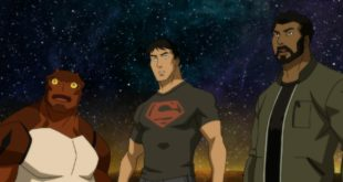 Young Justice, Forager, Conner, Black Lightning as they look on shocked