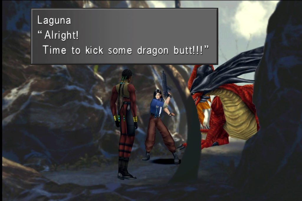 Final Fantasy VIII Remastered, Laguna and Kiros off to face a dragon before finding Esthar