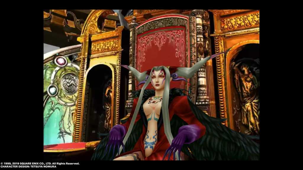 Sorceress Ultimecia in a very low-cut dress