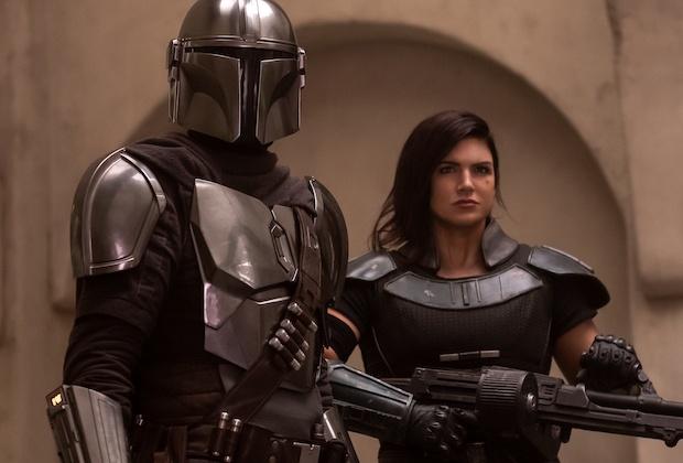 Pedro Pascal as Mando andGina Carano as Cara Dune in The Mandalorian. PC: Disney
