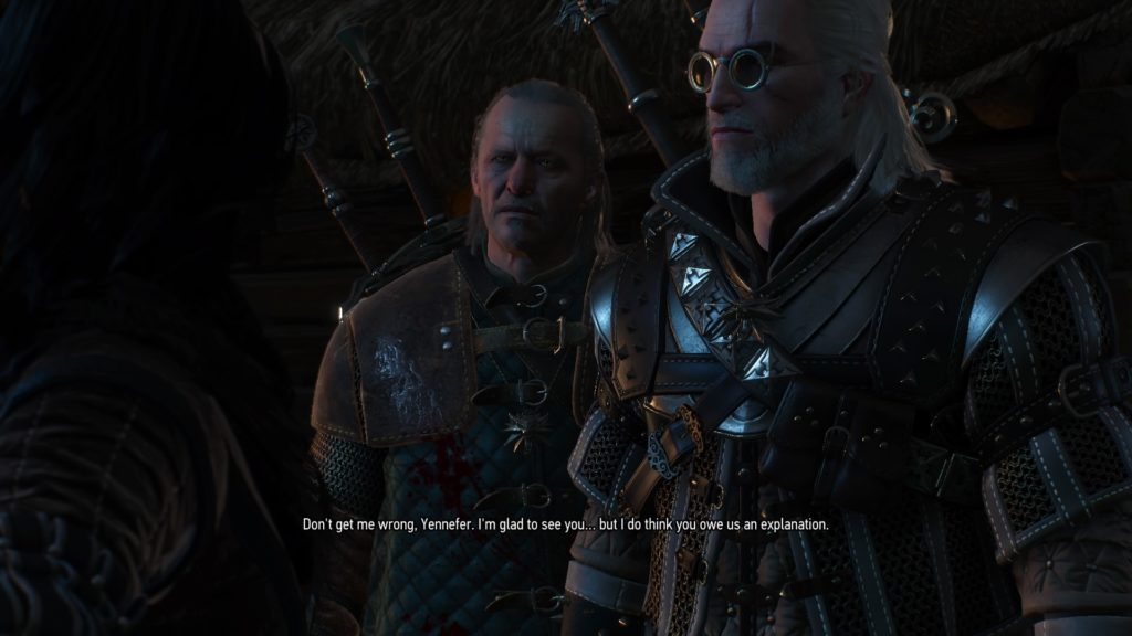 Geralt, in School of the Wolf Grandmaster Armor dyed White, and Vesemir address Yennefer for the first time.
