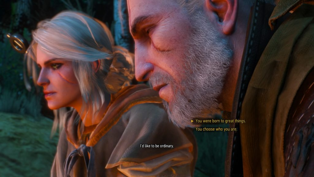 Ciri and Geralt discussing the life she wants to live