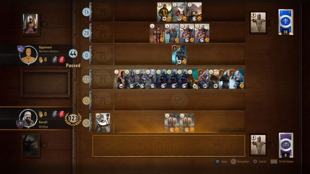 A 323 Gwent Score using a Skellige Deck in The Witcher 3