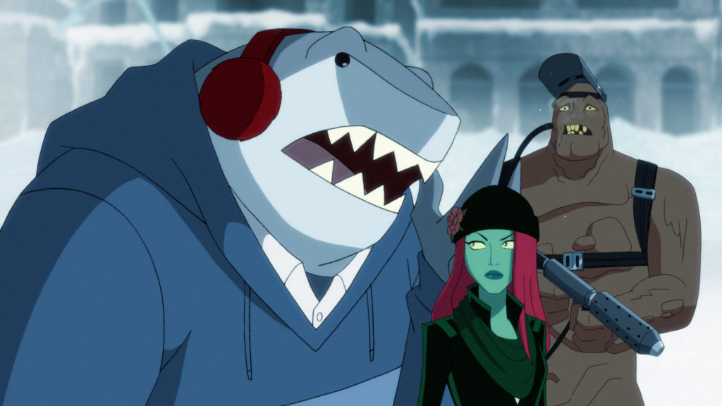 King Shark, Ivy, and Clayface at Freeze's Wall