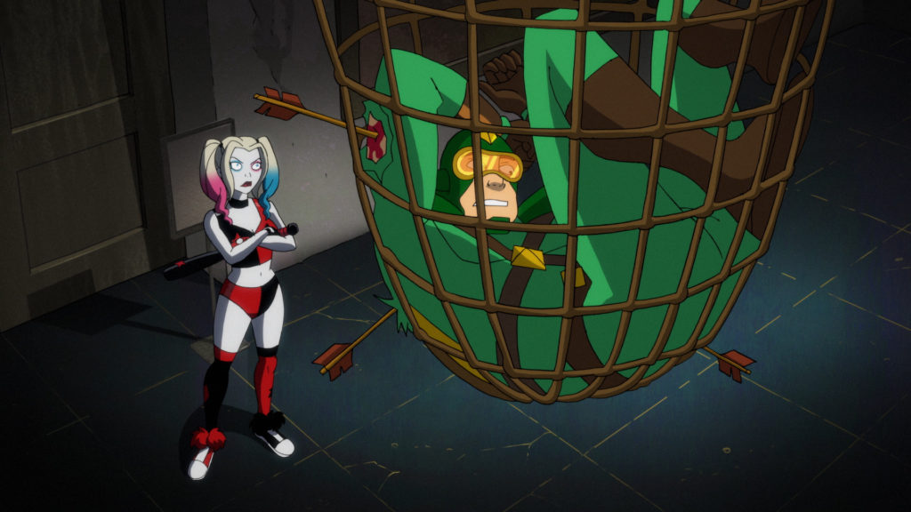Harley finds Kiteman caught in a trap