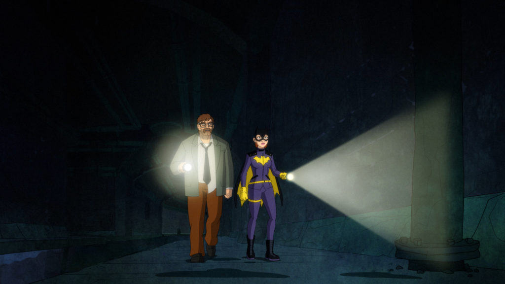 Jim Gordon and Batgirl patrol the sewers.