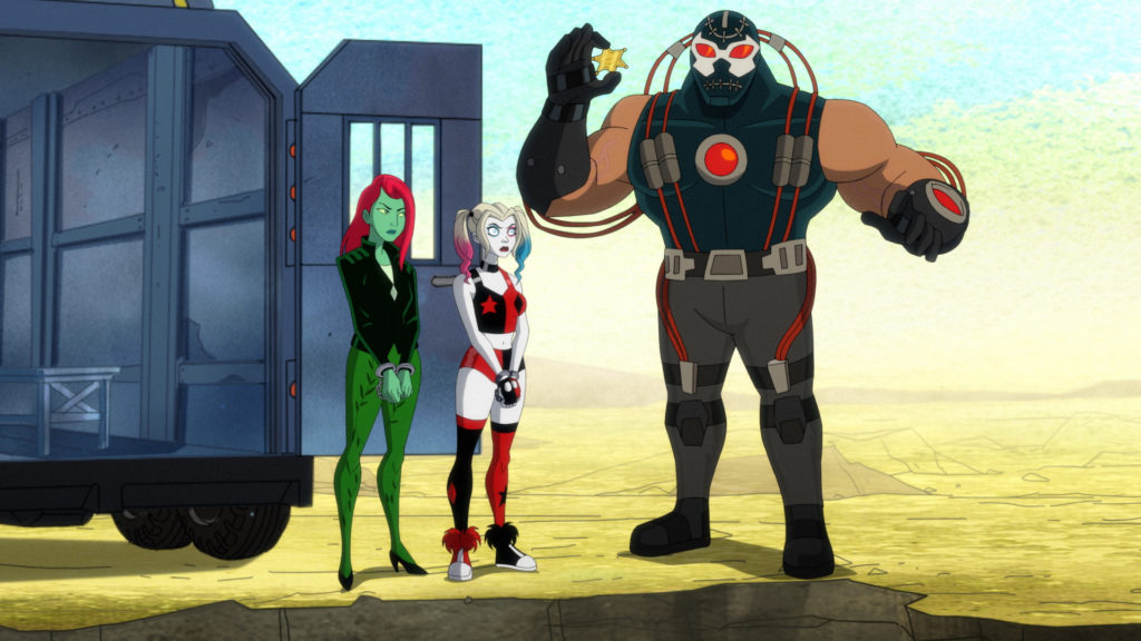 Warden Bane greets his new prisoners Harley and Ivy.