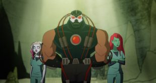 "Bane attentively leads prisoners Harley and Ivy in ""the Pit."""