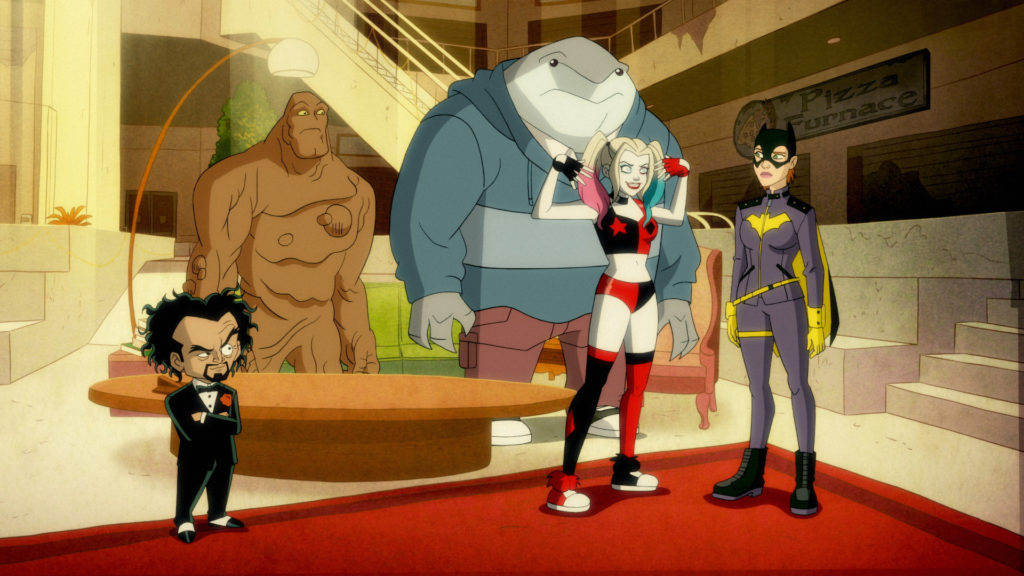 Harley Quinn talks with Batgirl while King Shark, Clayface, and Doctor Pyscho look on.