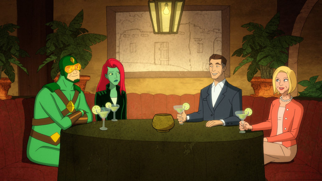 Poison Ivy and Kite Man sit with his parents at a Mexican restaurant.