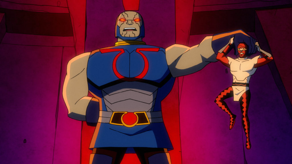 Darkseid holds a vanquished foe by his skull.