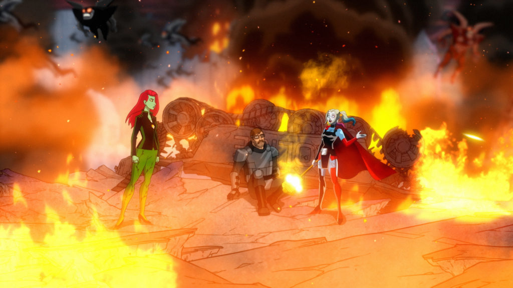 Harley Quinn, Poison Ivy, and Jim Gordon surrounded by flames.