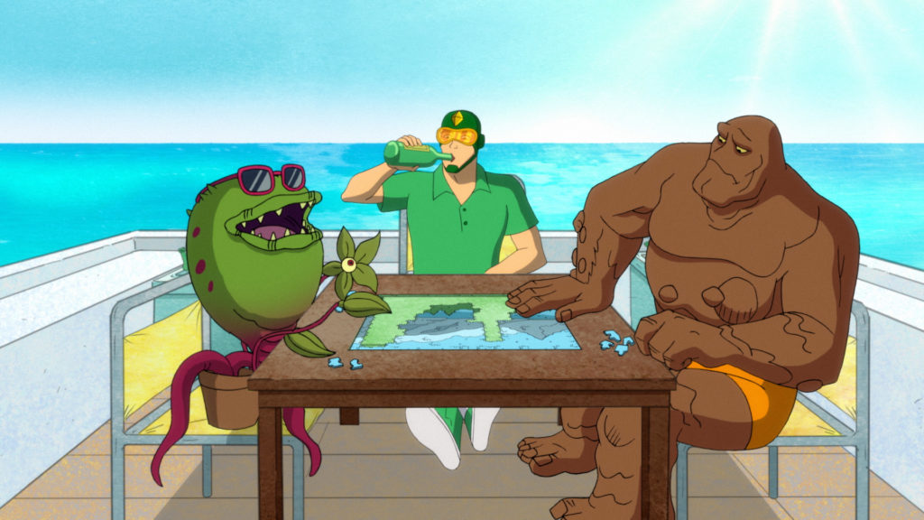 Kite Man is having his bachelor party on a boat. He, Clayface, and Frank the Plant are in casual clothing working on a jigsaw puzzle.
