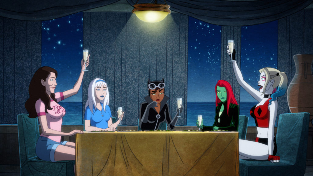 The bachelorette party cheers each other. From left to right: Jennifer (Ivy's childhood friend), Norma Fries, Catwoman, Poison Ivy, and Harley Quinn.