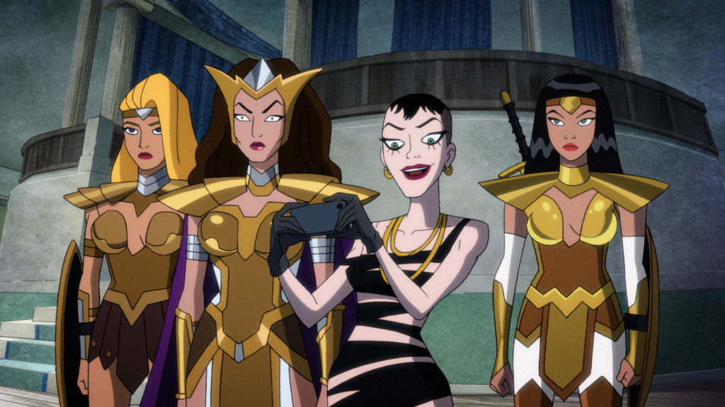 Heiress, with a camera, flanked by Queen Hippolyta and Themysciran guards.