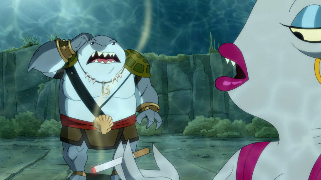 King Shark, in warrior prince gear, meets his betrothed, Tabitha.