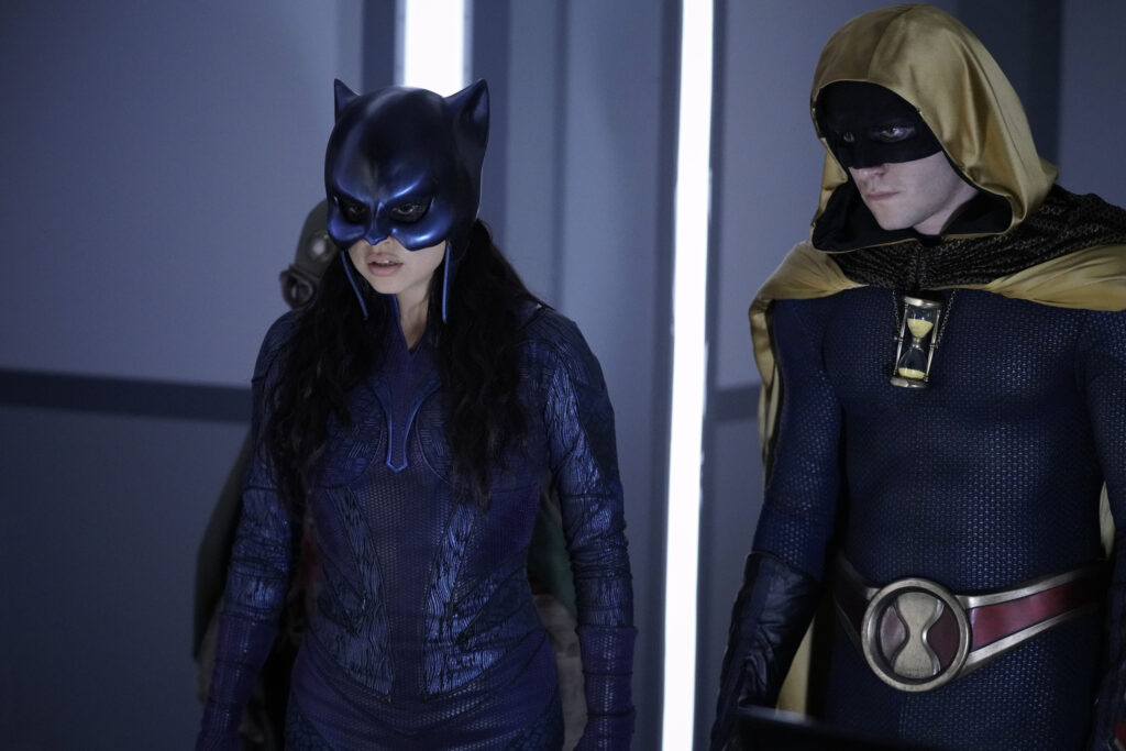 Left to Right: Yvette Monreal as Wildcat and Cameron Gellman as Hourman