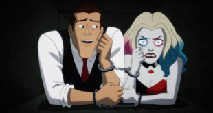 Harley Quinn and bartender (sane Joker) are army crawling through an air vent.