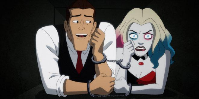 Harley Quinn and bartender (sane Joker) are army crawling through an air vent.