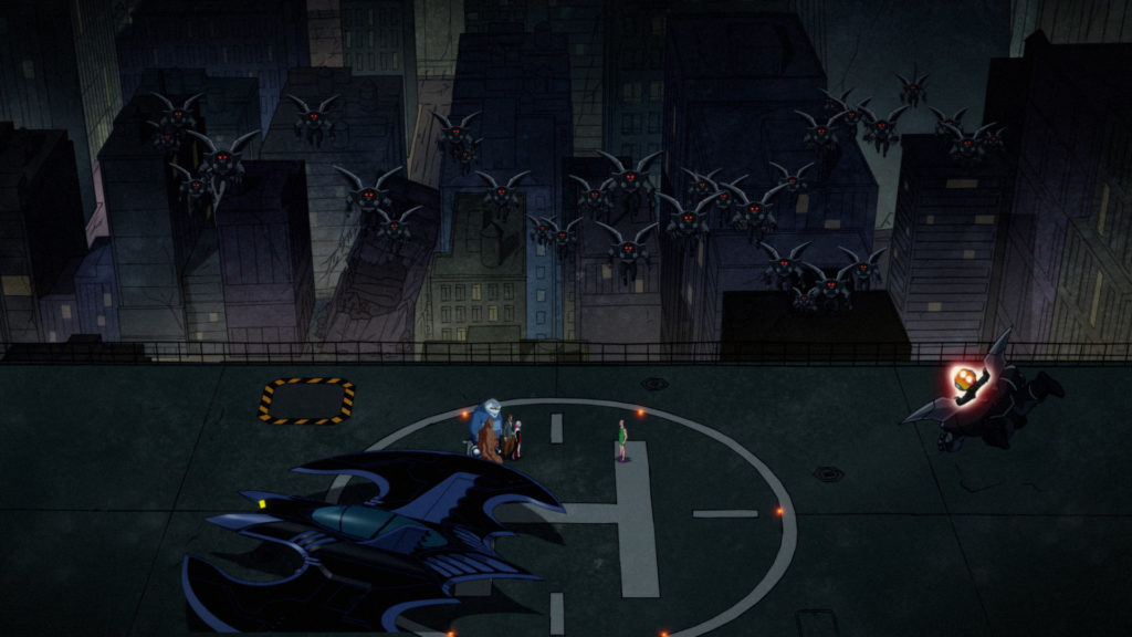 Wayne Tower rooftop: The Batplane is parked on the Helipad, and Harley, Gordon, King Shark, Clayface, and Sy Borgman stand surrounded by a swarm of Parademons.