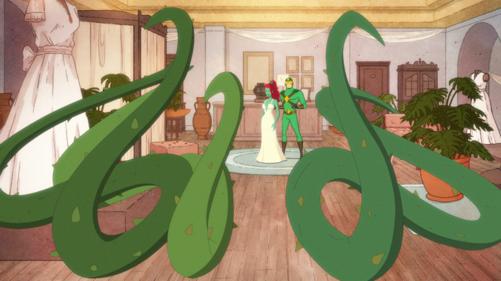 Poison Ivy, in a wedding dress, fighting with two vines.