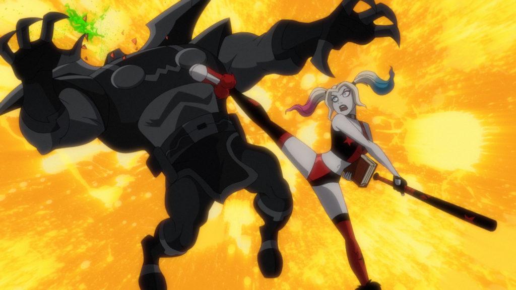 Harley beating up a Parademon