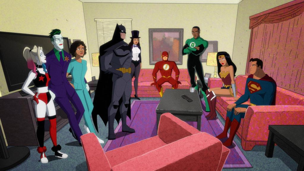 Left to right: Harley, Joker,Bethany, Batman, Zatanna, the Flash, John Stewart Green Lantern, Wonder Woman, and Superman.