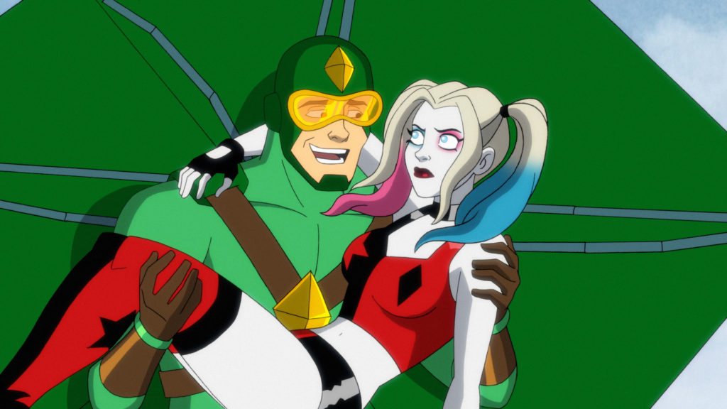 Kite Man carrying Harley Quinn.