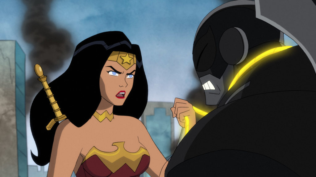 Wonder Woman interrogating a Parademon.