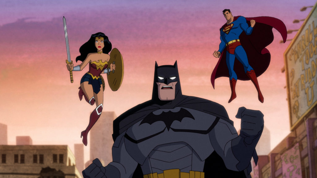 Left to Right: Wonder Woman, Batman, and Superman