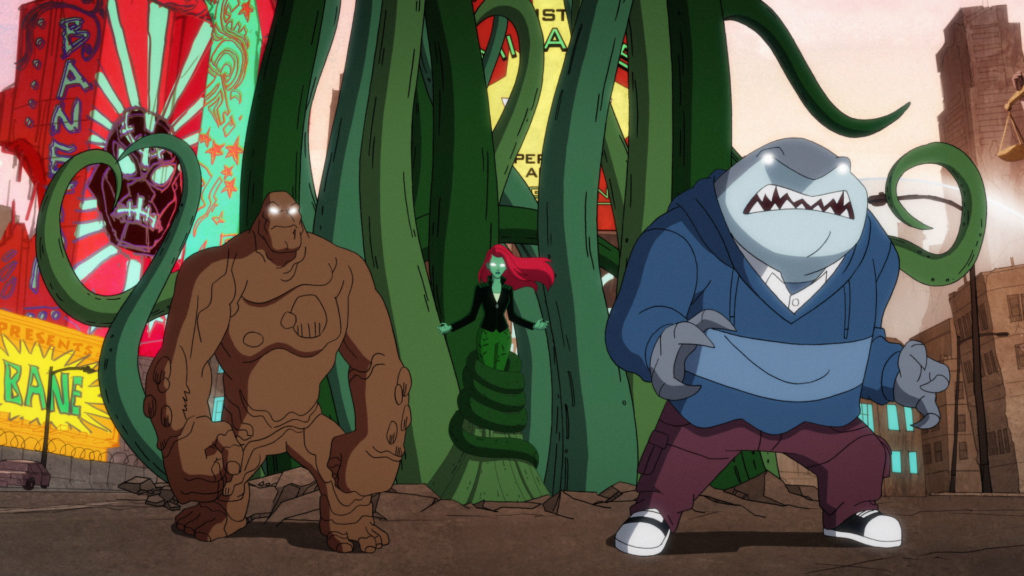 Left to Right (All Mind Controlled): Clayface, Poison Ivy, and King Shark