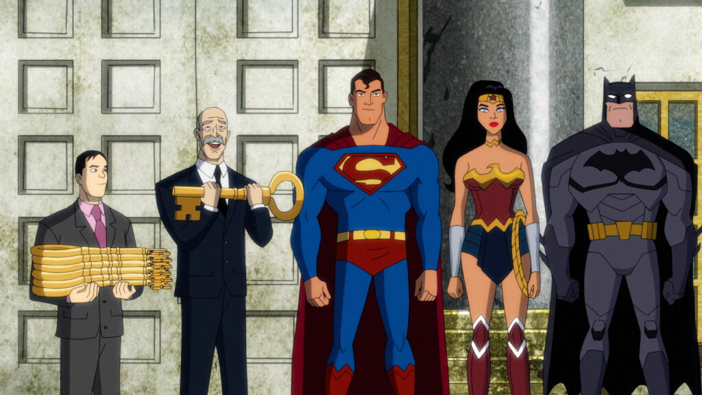Left to Right: the mayor's aide holding six keys to the city, the mayor holding one key, Superman, Wonder Woman, and Batman.