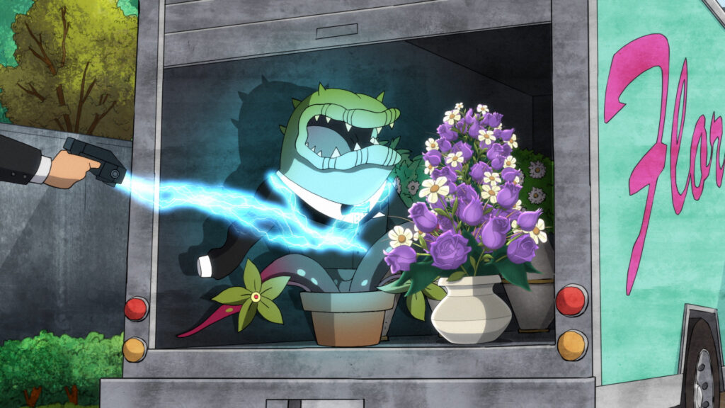 Frank the Plant in the back of a floral truck, getting tased.