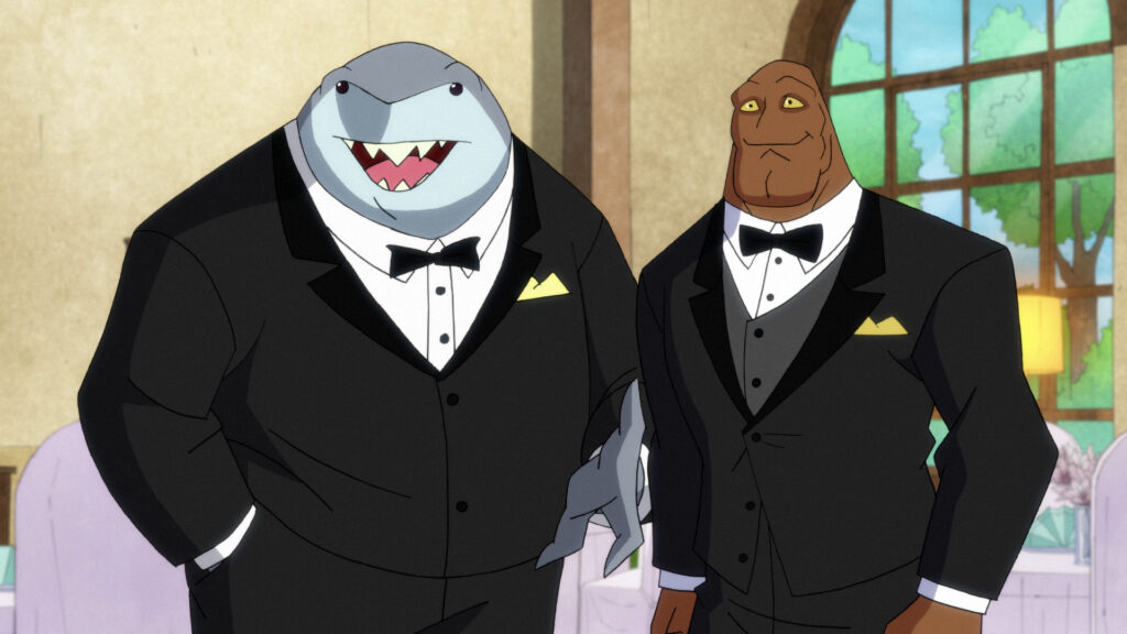 Left to Right (in tuxedos): King Shark and Clayface