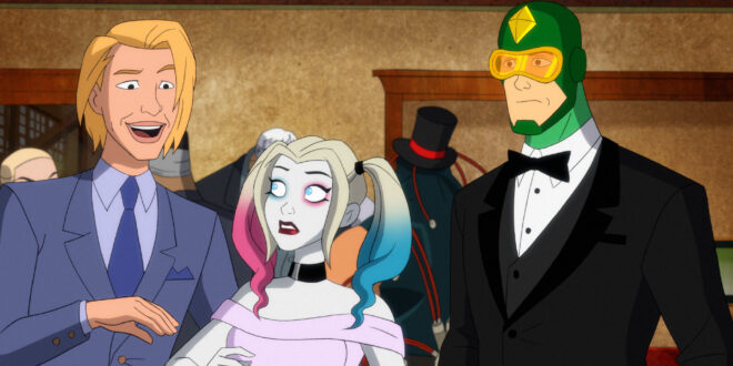 Left to Right: Wedding Photographer, Harley Quinn in a dress, and Kite Man in a tuxedo.