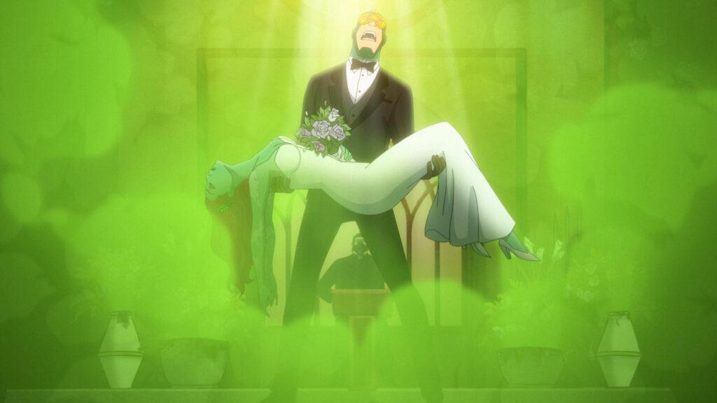 Kite Man holding an unconscious Poison Ivy