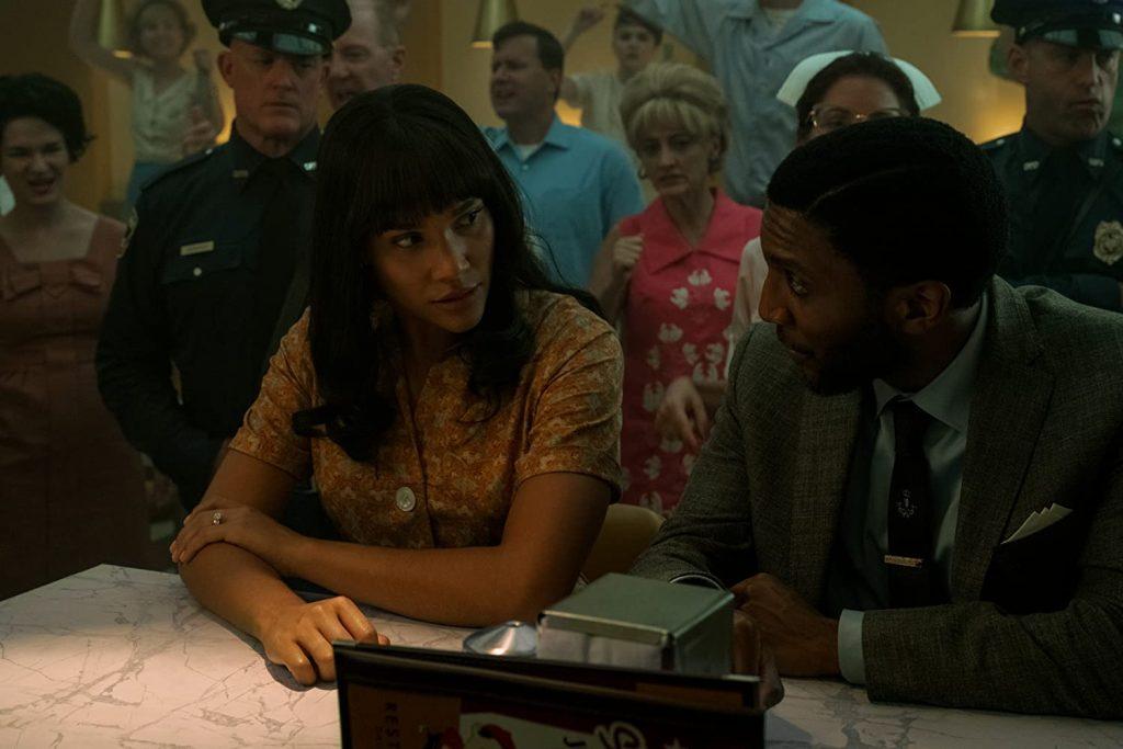 Allison (Emmy Raver-Lampman) and Raymond (Yusuf Gatewood) in The Swedish Job (2020)