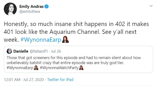 "A reply tweet by producer Emily Andras that says ""Honestly, so much insane shit happens in 402 it makes 401 look like the Aquarium Channel. See y'all next week. #Wynonna Earp"""