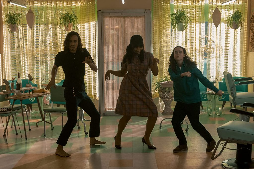 Klaus, Allison, and Vanya dancing